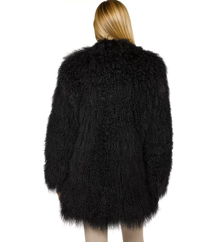 Mongolian Lamb Fur Jacket in Black