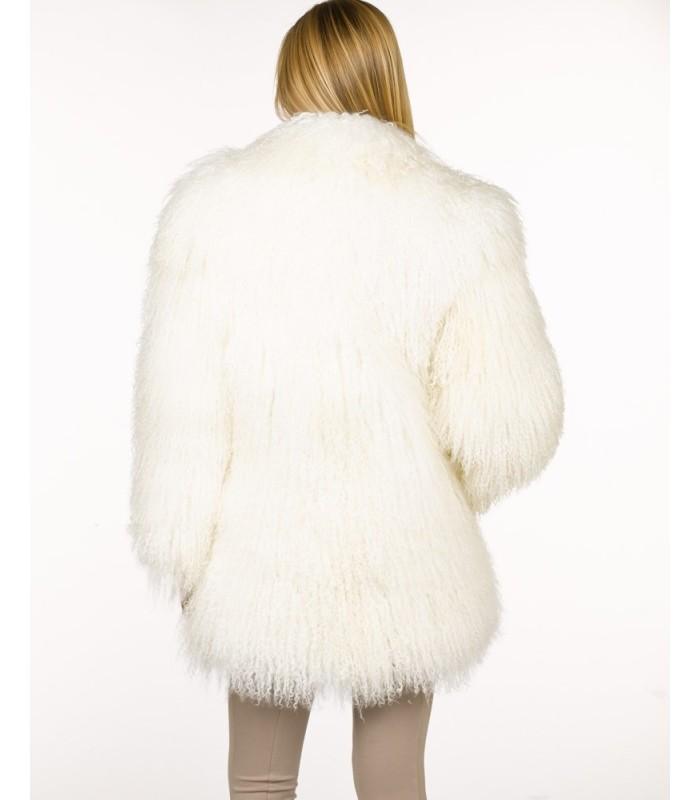 Mongolian Lamb Fur Jacket in White