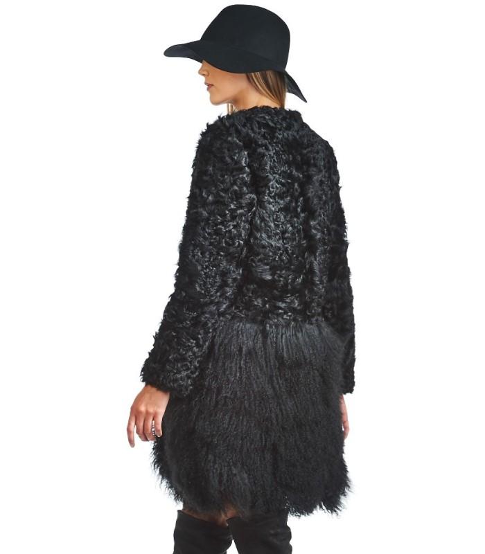 Mongolian and Curly Lamb Fur Coat in Black