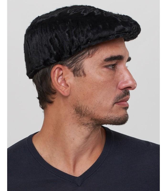 Lamb Fur Flat Cap in Black