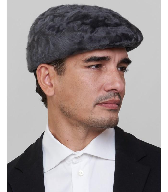 Lamb Fur Flat Cap in Grey