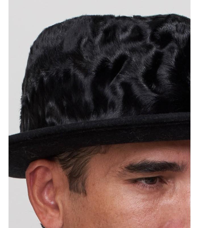 Lamb's Fur Fedora Hat in Black