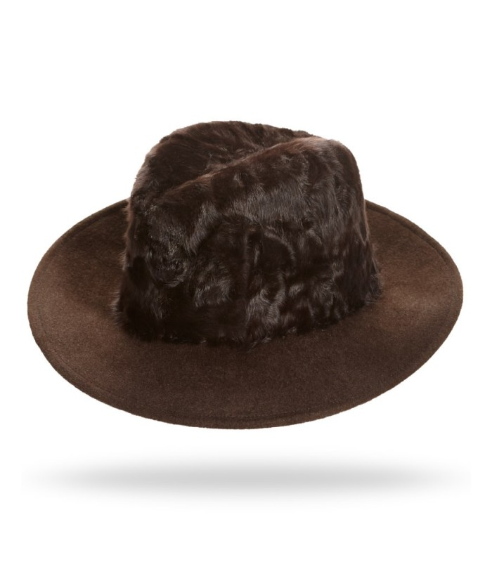 Lamb's Fur Fedora Hat in Brown