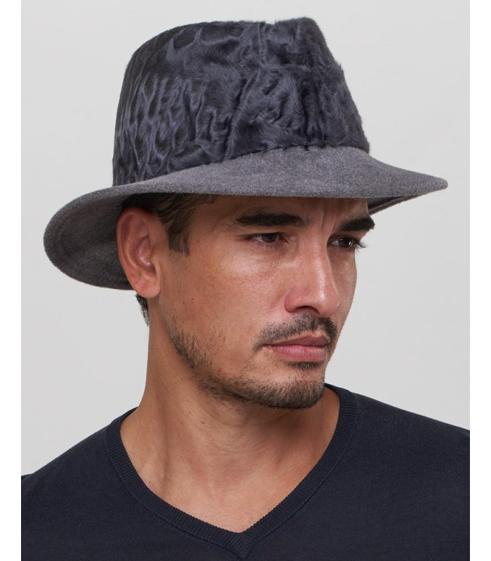 Lamb's Fur Fedora Hat in Grey