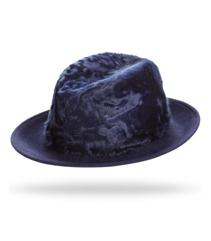 Lamb's Fur Fedora Hat in Navy