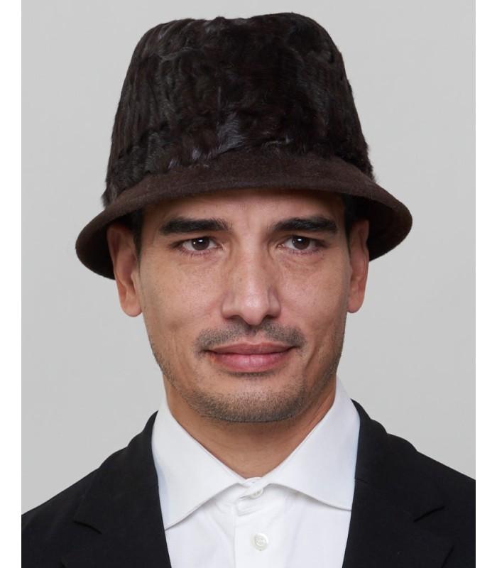 Short Brim Fedora Bucket Hat in Brown
