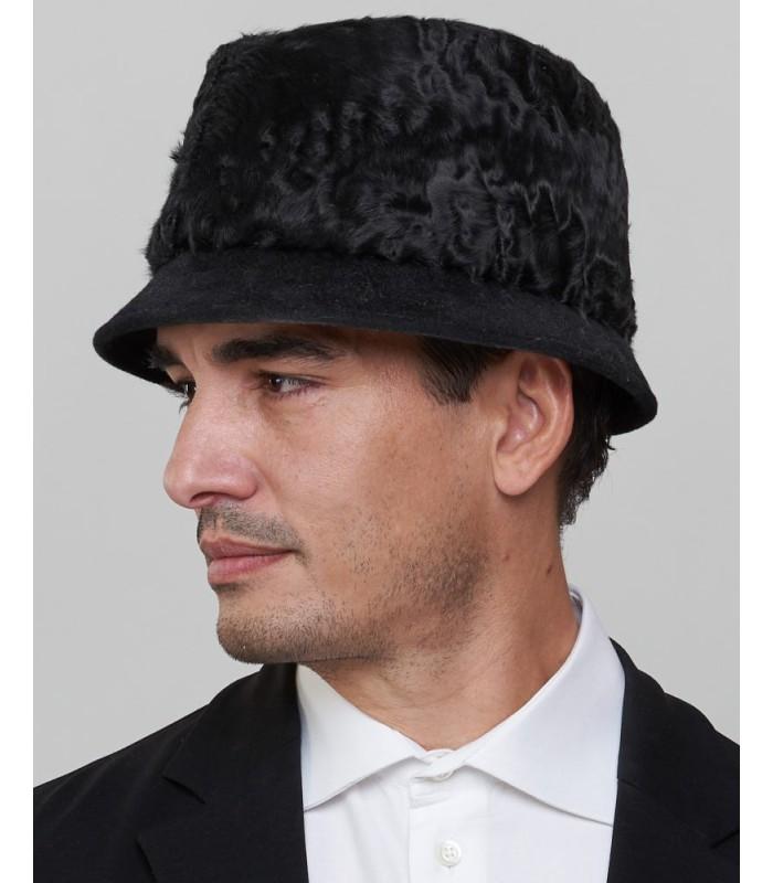 Short Brim Fedora Bucket Hat in Black