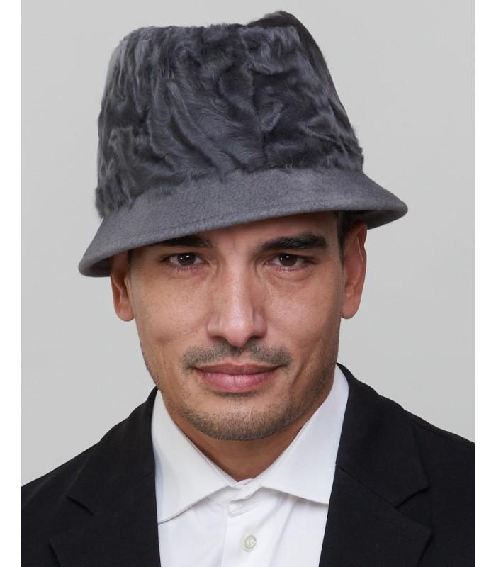 Short Brim Fedora Bucket Hat in Grey