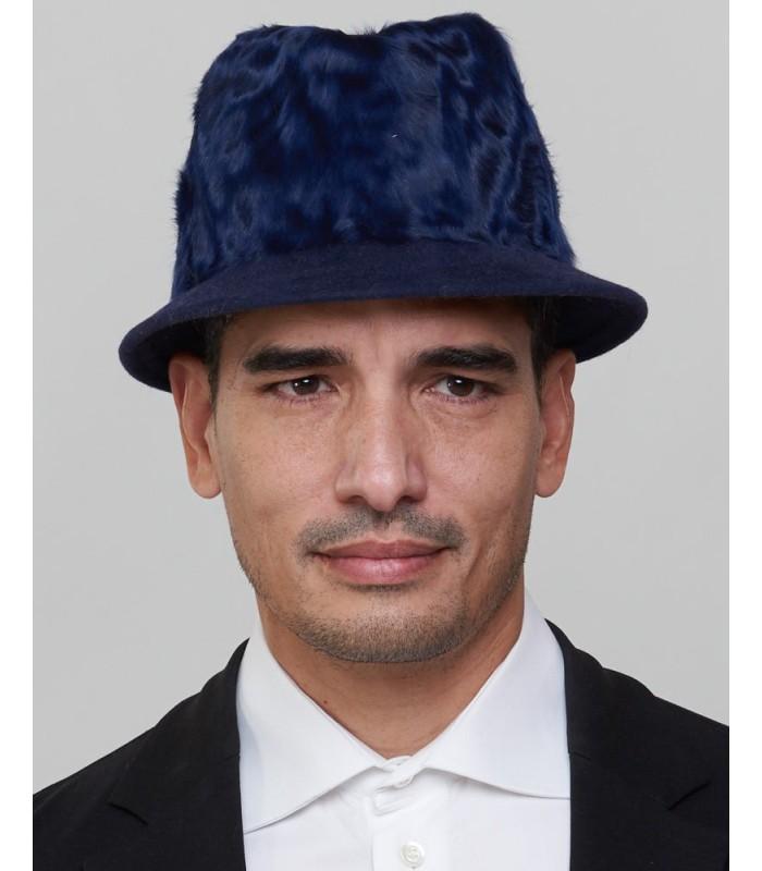 Short Brim Fedora Bucket Hat in Navy