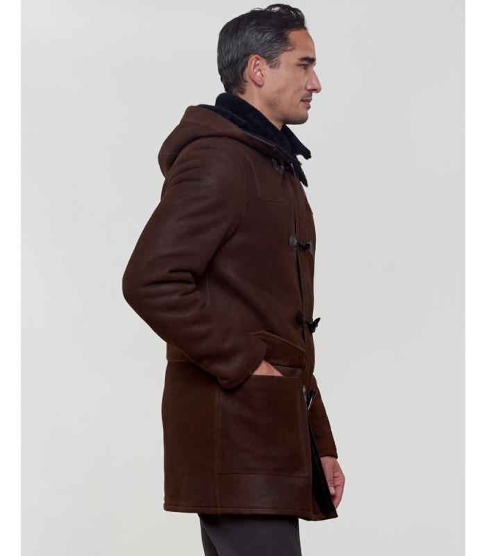Shearling Sheepskin Hooded Coat