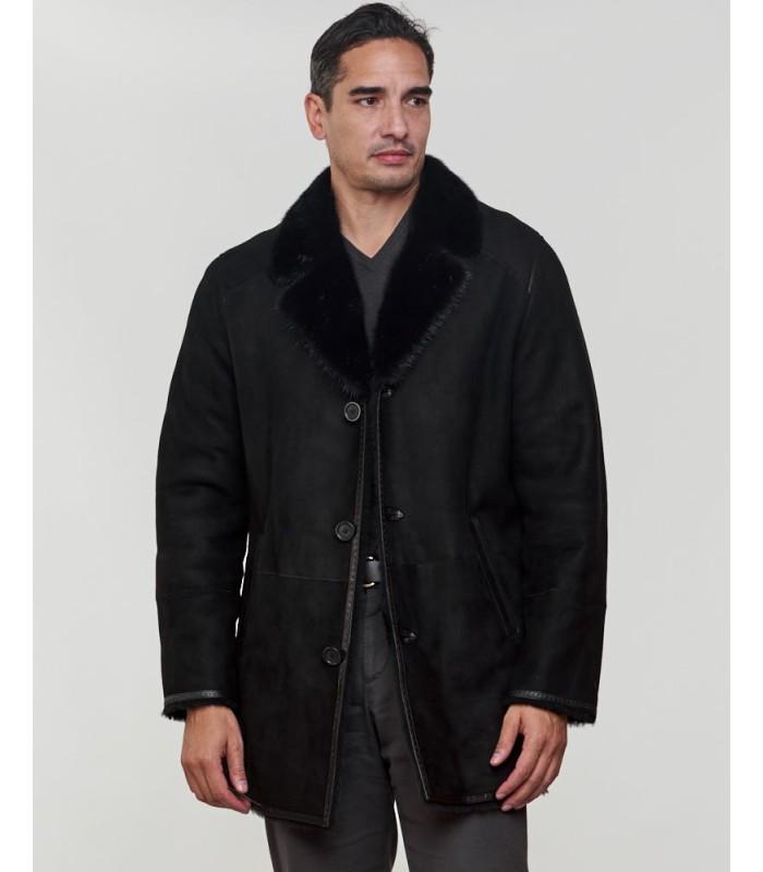 Shearling Sheepskin Jacket with Mink Fur Trim in Black