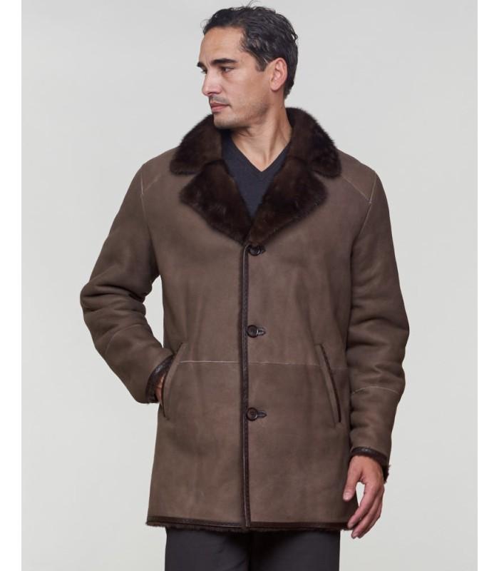 Shearling Sheepskin Jacket with Mink Fur Trim in Brown
