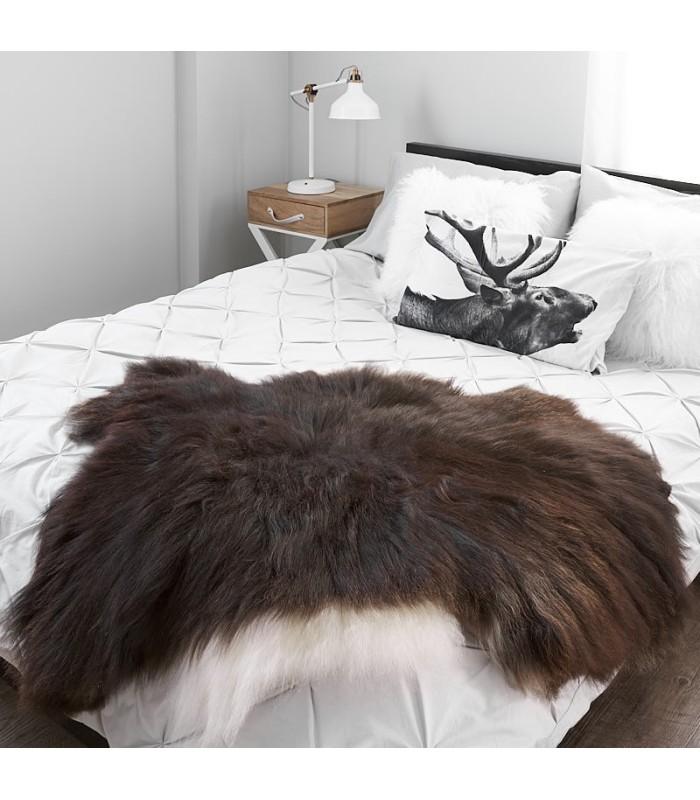 Icelandic Sheepskin in Dark Brown and White