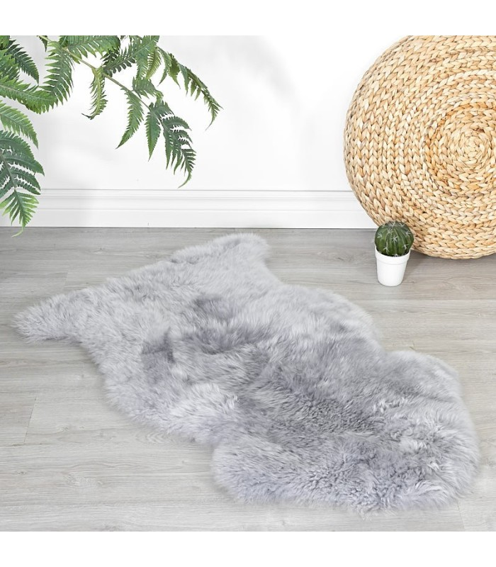 Steel Grey Sheepskin Rug (2x3.5 ft)