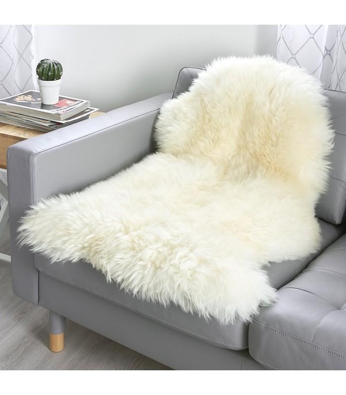 Ivory White Sheepskin Throw (2x3.5 ft)