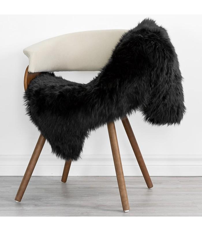 Black Sheepskin Throw (2x3.5 ft)