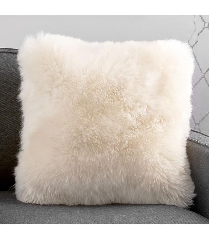 Large Double Sided Champagne Longwool Sheepskin Pillow / Cushion